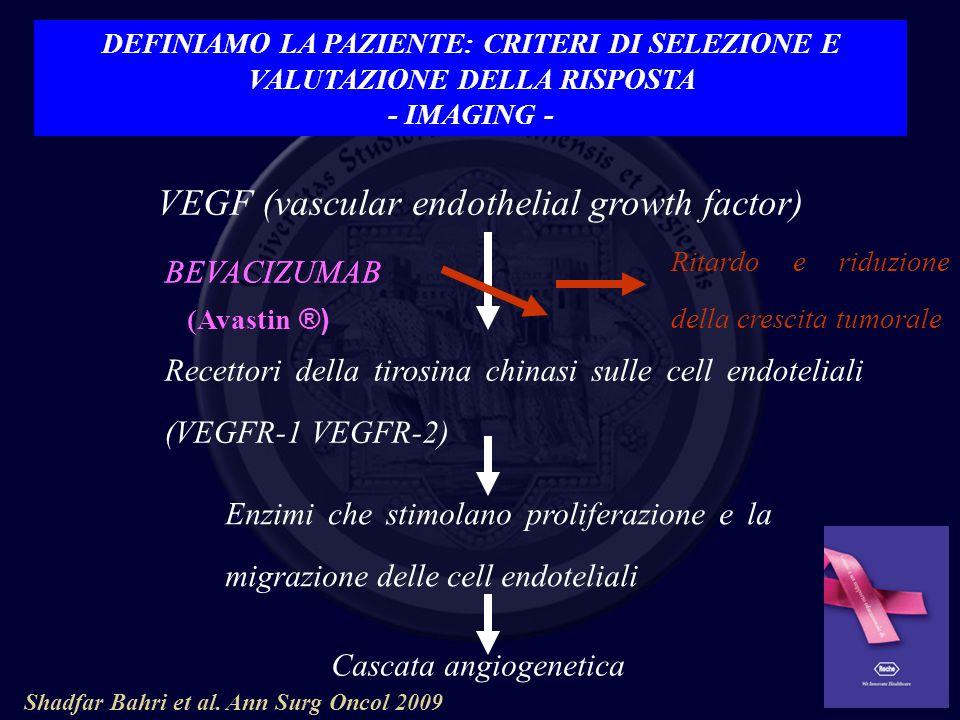 VEGF (vascular endothelial growth factor) Recettori della tirosina chinasi sulle cell endoteliali (VEGFR-1 VEGFR-2) Enzimi che stimolano proliferazion
