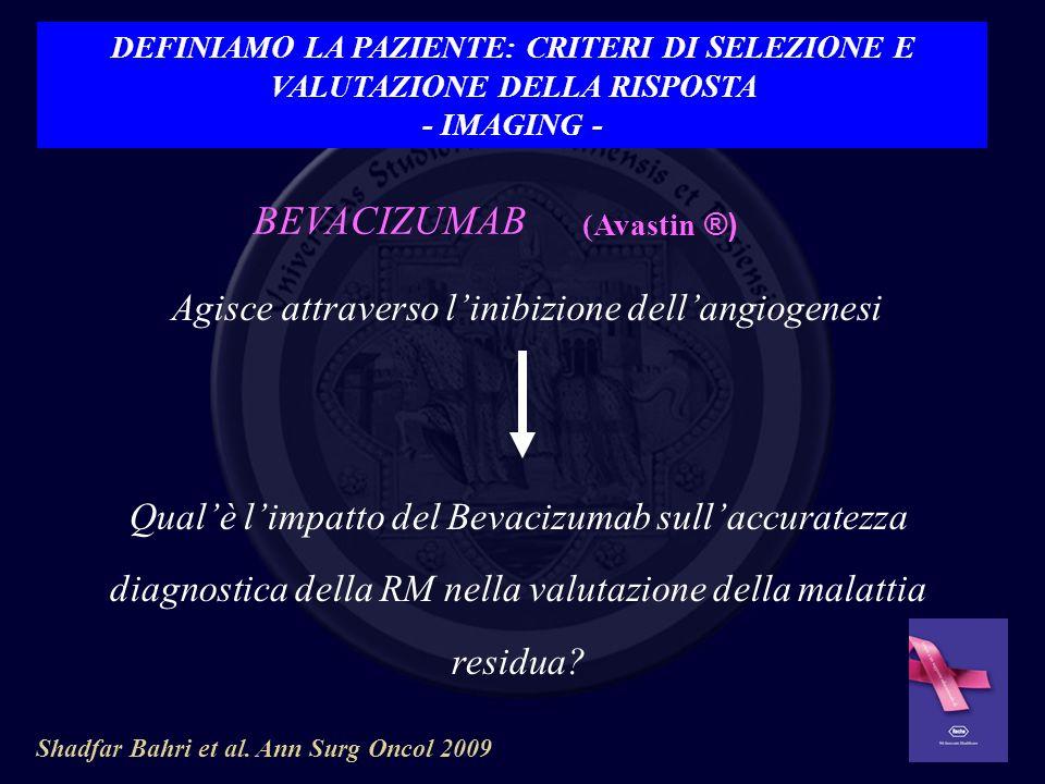 BEVACIZUMAB Agisce attraverso linibizione dellangiogenesi Qualè limpatto del Bevacizumab sullaccuratezza diagnostica della RM nella valutazione della