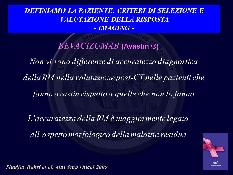 Shadfar Bahri et al. Ann Surg Oncol 2009 Non vi sono differenze di accuratezza diagnostica della RM nella valutazione post-CT nelle pazienti che fanno