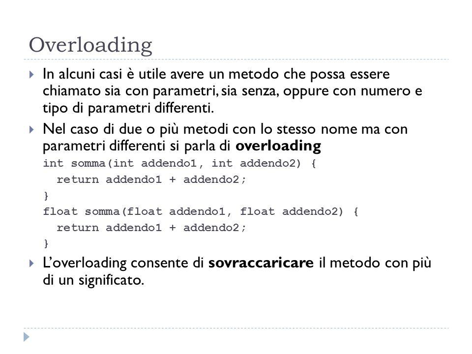 Overloading In alcuni casi è utile avere un metodo che possa essere chiamato sia con parametri, sia senza, oppure con numero e tipo di parametri diffe