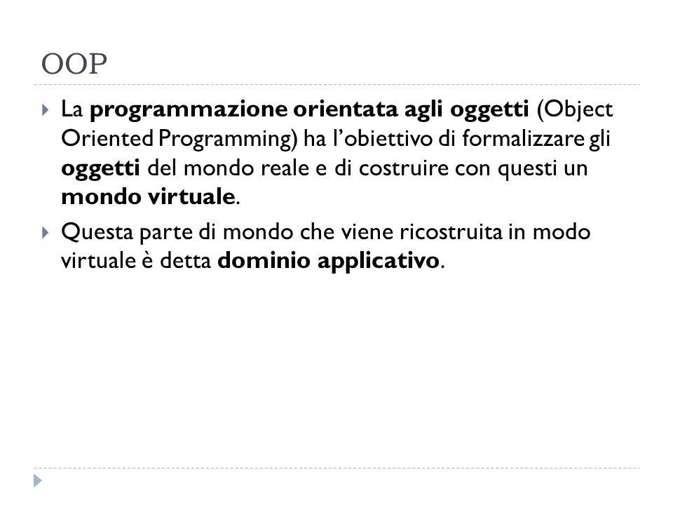 OOP La programmazione orientata agli oggetti (Object Oriented Programming) ha lobiettivo di formalizzare gli oggetti del mondo reale e di costruire co