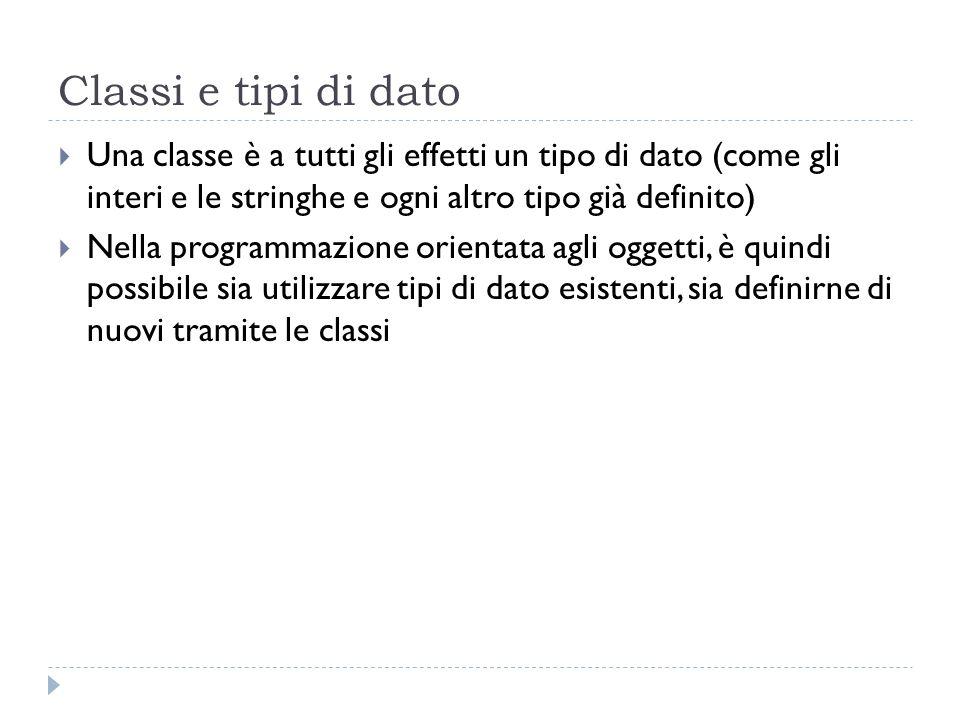 Classi e tipi di dato Una classe è a tutti gli effetti un tipo di dato (come gli interi e le stringhe e ogni altro tipo già definito) Nella programmaz