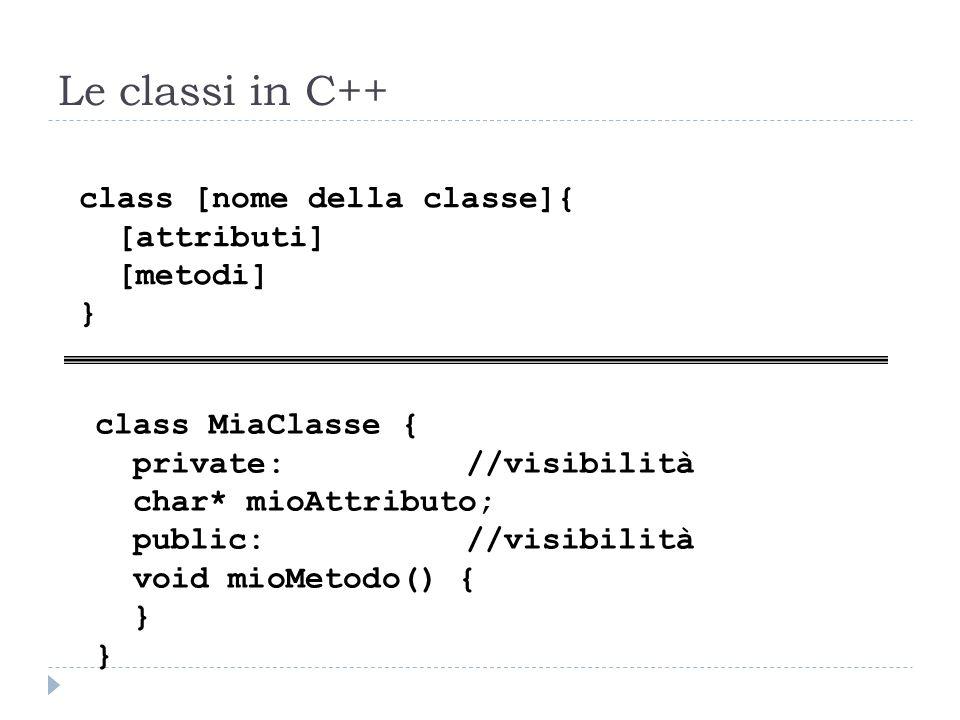 Le classi in C++ class [nome della classe]{ [attributi] [metodi] } class MiaClasse { private://visibilità char* mioAttributo; public://visibilità void