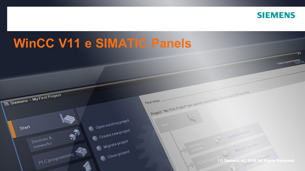 / © Siemens AG 2010. All Rights Reserved. WinCC V11 e SIMATIC Panels