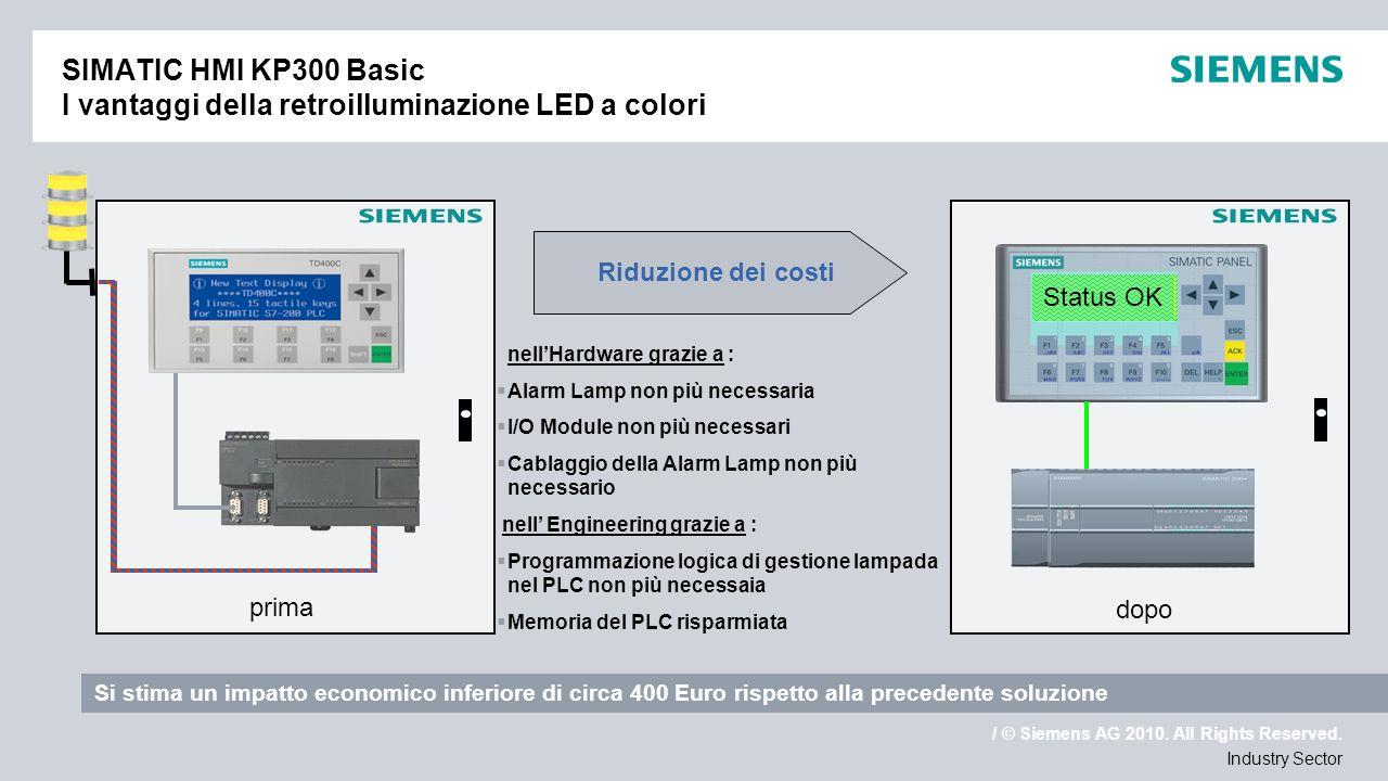 / © Siemens AG 2010. All Rights Reserved. Industry Sector SIMATIC HMI KP300 Basic I vantaggi della retroilluminazione LED a colori Status OK Warning A