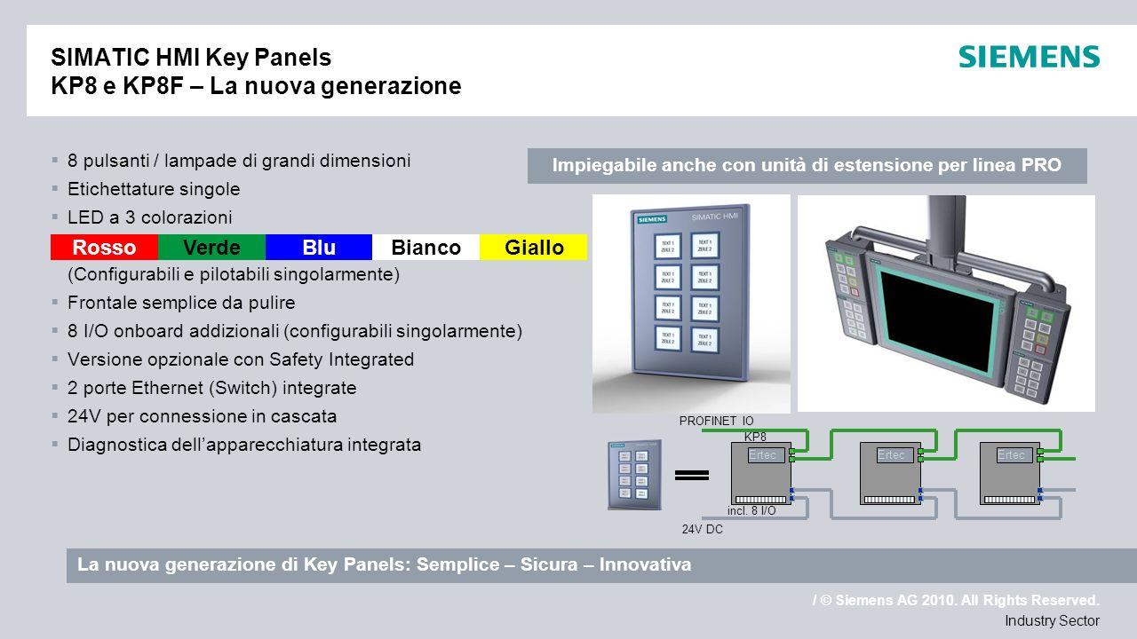 / © Siemens AG 2010. All Rights Reserved. Industry Sector SIMATIC HMI Key Panels KP8 e KP8F – La nuova generazione 8 pulsanti / lampade di grandi dime