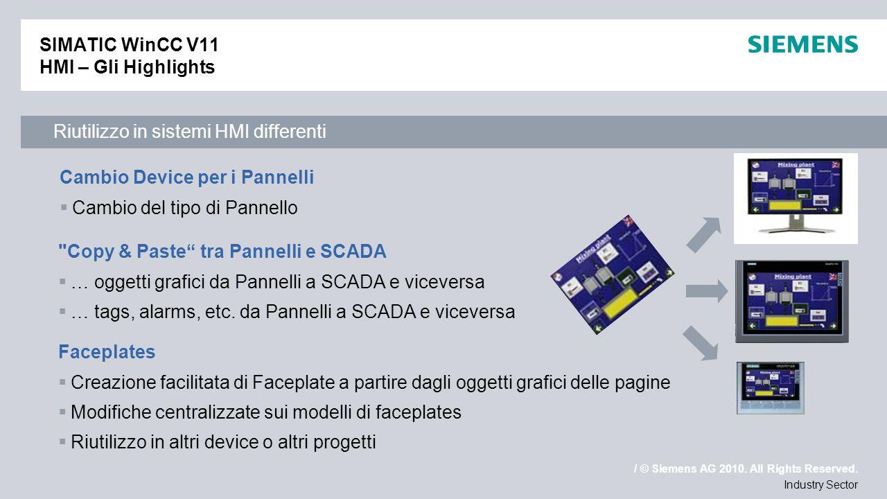 / © Siemens AG 2010. All Rights Reserved. Industry Sector SIMATIC WinCC V11 HMI – Gli Highlights Cambio Device per i Pannelli Cambio del tipo di Panne