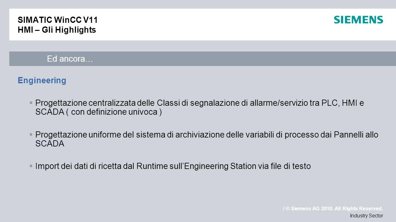 / © Siemens AG 2010. All Rights Reserved. Industry Sector SIMATIC WinCC V11 HMI – Gli Highlights Engineering Progettazione centralizzata delle Classi