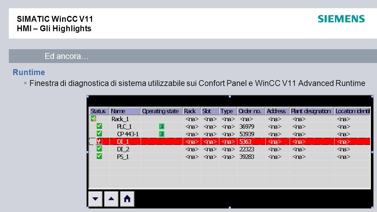 / © Siemens AG 2010. All Rights Reserved. Industry Sector SIMATIC WinCC V11 HMI – Gli Highlights Runtime Finestra di diagnostica di sistema utilizzabi