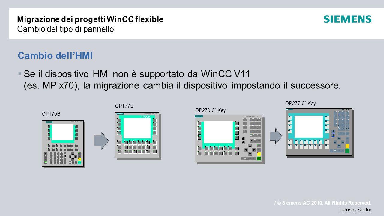/ © Siemens AG 2010. All Rights Reserved. Industry Sector Migrazione dei progetti WinCC flexible Cambio del tipo di pannello Cambio dellHMI Se il disp