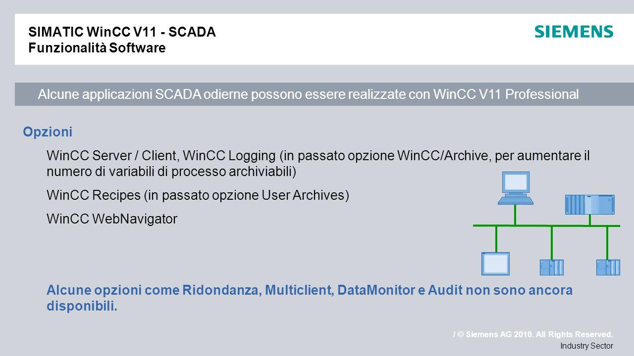 / © Siemens AG 2010. All Rights Reserved. Industry Sector SIMATIC WinCC V11 - SCADA Funzionalità Software Alcune applicazioni SCADA odierne possono es