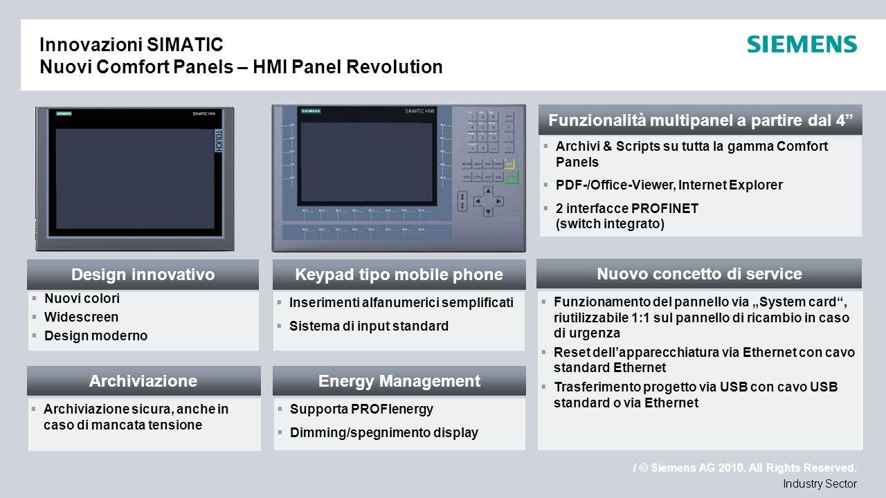 / © Siemens AG 2010. All Rights Reserved. Industry Sector Innovazioni SIMATIC Nuovi Comfort Panels – HMI Panel Revolution Nuovo concetto di service Fu