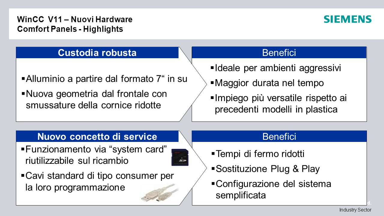 / © Siemens AG 2010. All Rights Reserved. Industry Sector Benefici WinCC V11 – Nuovi Hardware Comfort Panels - Highlights Ideale per ambienti aggressi