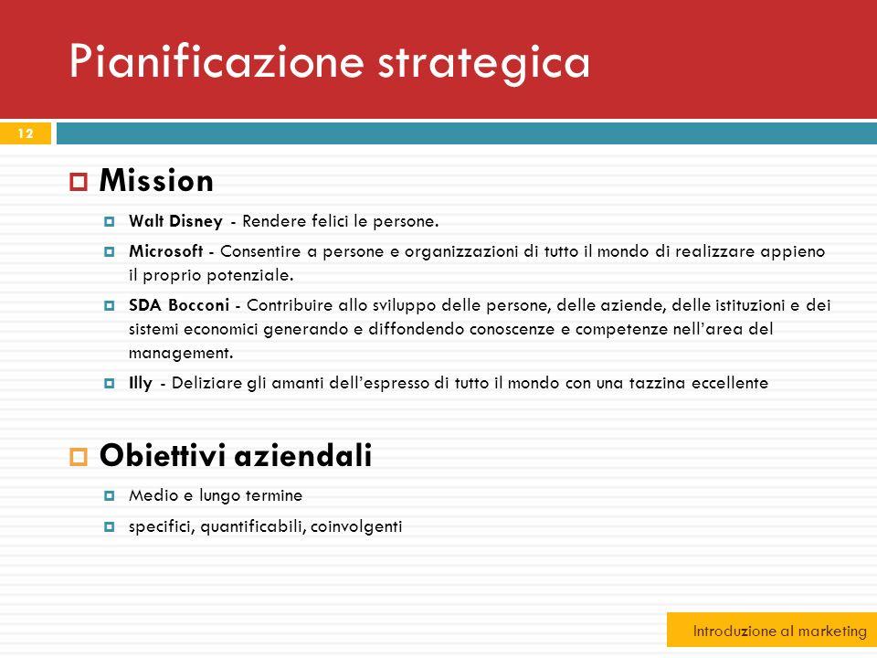 Pianificazione strategica Mission Walt Disney - Rendere felici le persone. Microsoft - Consentire a persone e organizzazioni di tutto il mondo di real