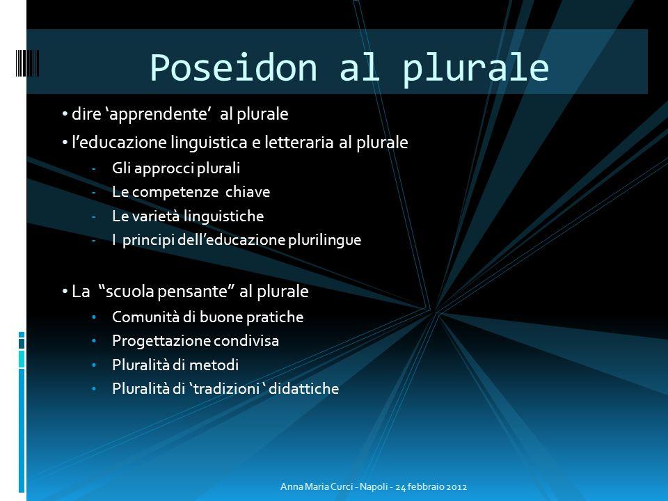 dire apprendente al plurale leducazione linguistica e letteraria al plurale - Gli approcci plurali - Le competenze chiave - Le varietà linguistiche -