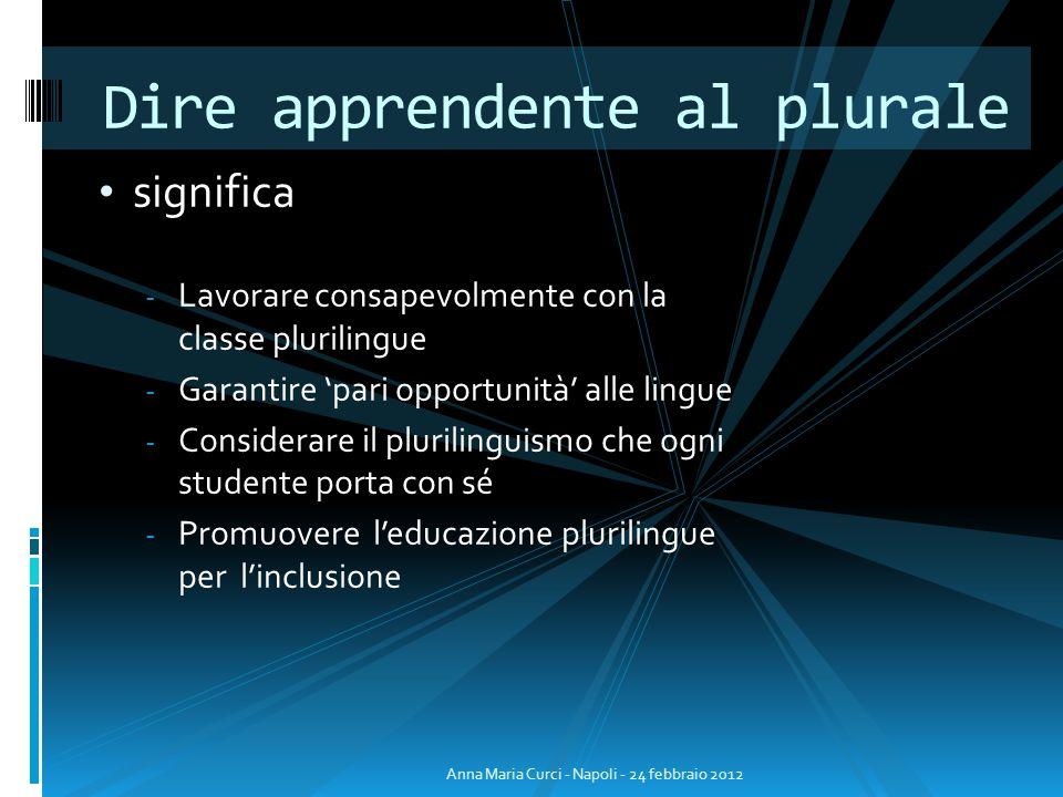 significa - Lavorare consapevolmente con la classe plurilingue - Garantire pari opportunità alle lingue - Considerare il plurilinguismo che ogni stude