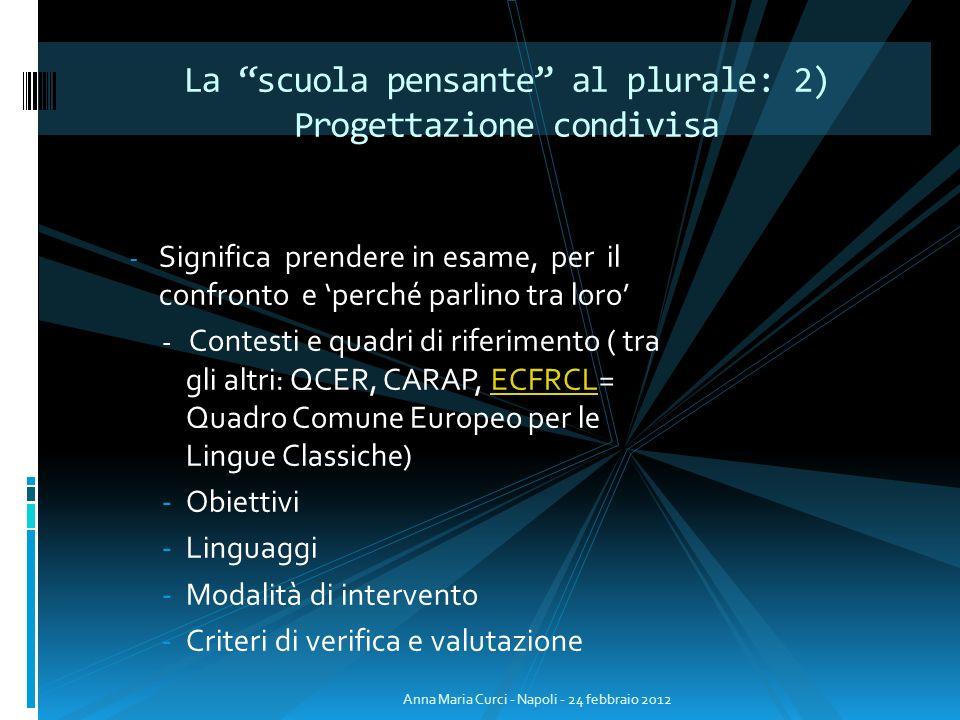 - Significa prendere in esame, per il confronto e perché parlino tra loro - Contesti e quadri di riferimento ( tra gli altri: QCER, CARAP, ECFRCL= Qua