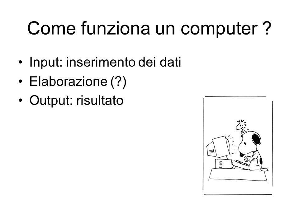 Come funziona un computer ? Input: inserimento dei dati Elaborazione (?) Output: risultato