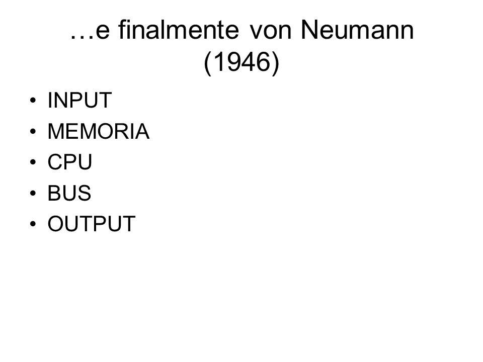 …e finalmente von Neumann (1946) INPUT MEMORIA CPU BUS OUTPUT