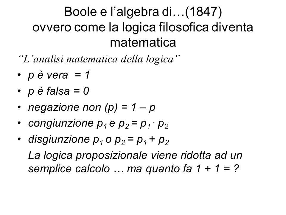 Boole e lalgebra di…(1847) ovvero come la logica filosofica diventa matematica Lanalisi matematica della logica p è vera = 1 p è falsa = 0 negazione non (p) = 1 – p congiunzione p 1 e p 2 = p 1.