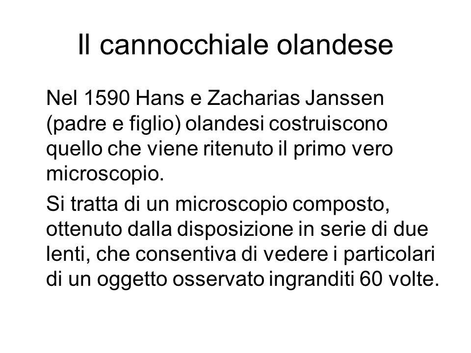 Il cannocchiale olandese Nel 1590 Hans e Zacharias Janssen (padre e figlio) olandesi costruiscono quello che viene ritenuto il primo vero microscopio.