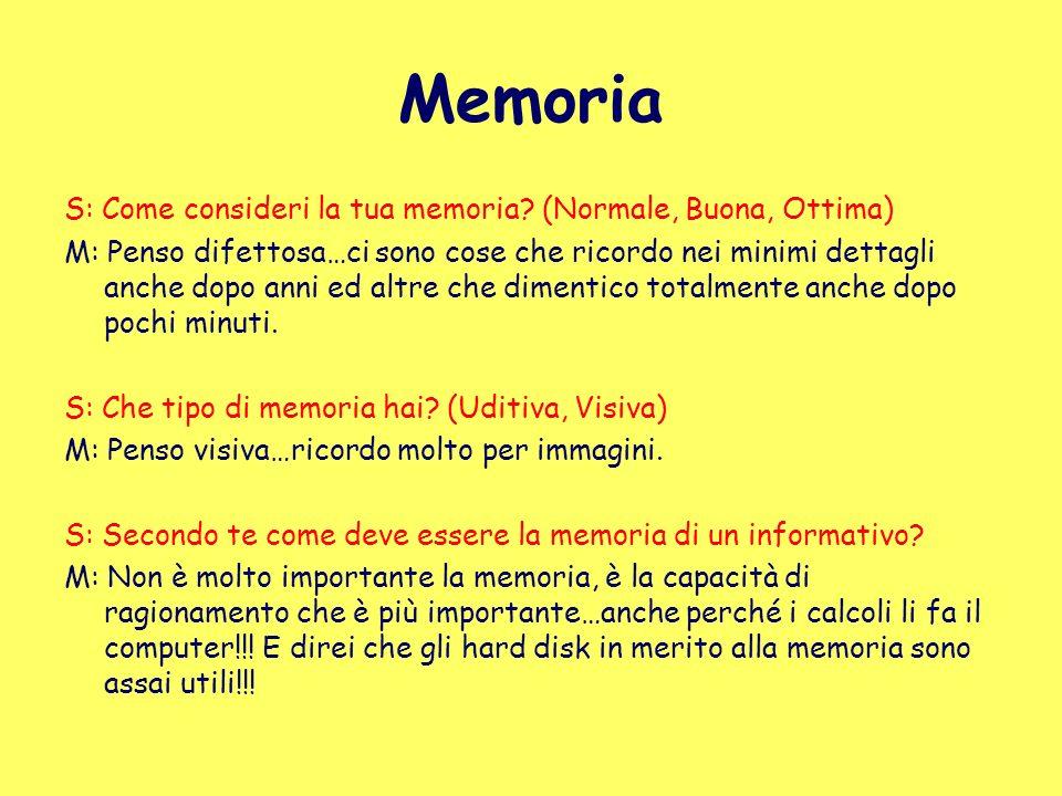 Memoria S: Come consideri la tua memoria? (Normale, Buona, Ottima) M: Penso difettosa…ci sono cose che ricordo nei minimi dettagli anche dopo anni ed