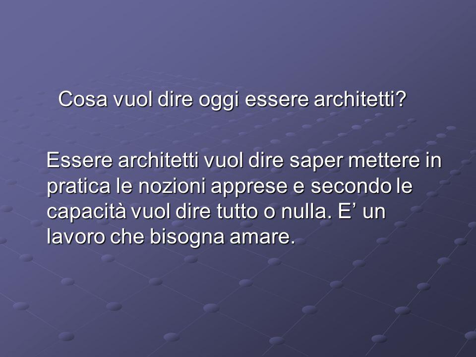 Cosa vuol dire oggi essere architetti.Cosa vuol dire oggi essere architetti.