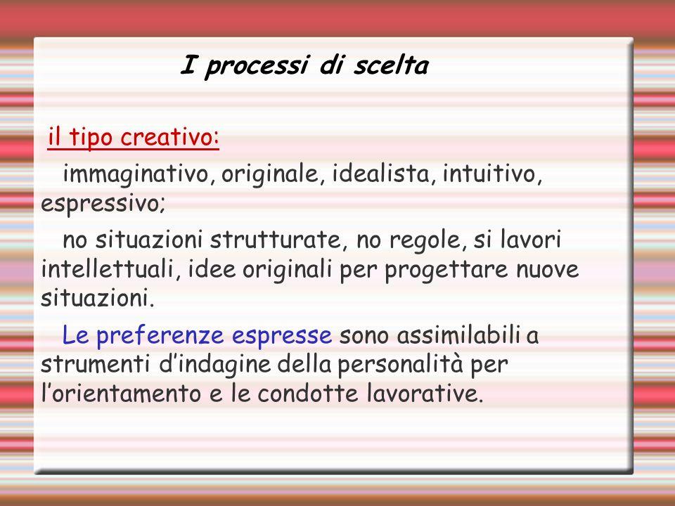 il tipo creativo: immaginativo, originale, idealista, intuitivo, espressivo; no situazioni strutturate, no regole, si lavori intellettuali, idee originali per progettare nuove situazioni.