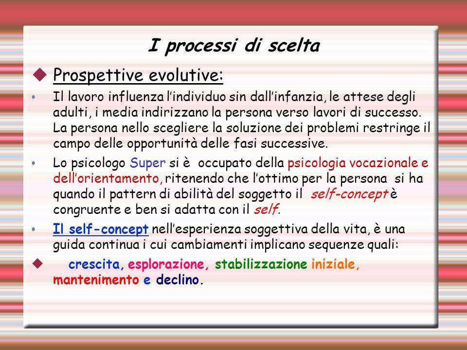 I processi di scelta Prospettive evolutive: Il lavoro influenza lindividuo sin dallinfanzia, le attese degli adulti, i media indirizzano la persona verso lavori di successo.