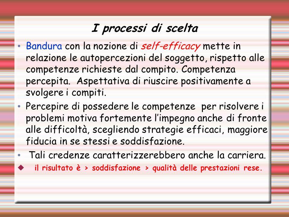 I processi di scelta Bandura con la nozione di self-efficacy mette in relazione le autopercezioni del soggetto, rispetto alle competenze richieste dal compito.