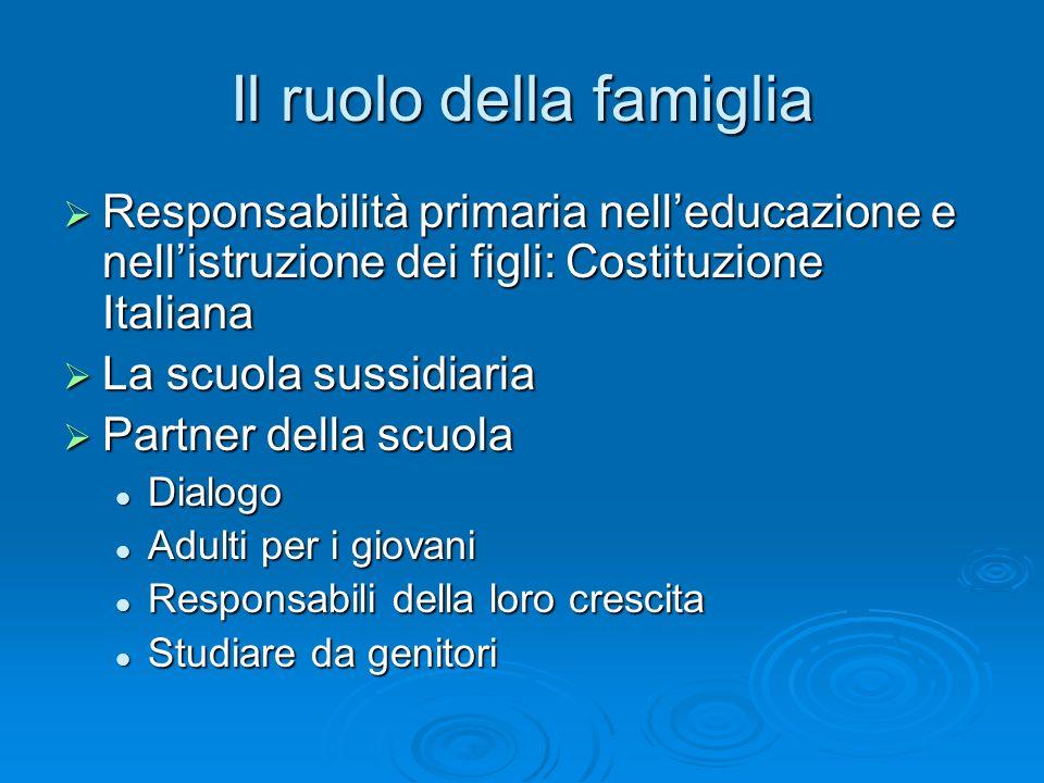 Il ruolo della famiglia Responsabilità primaria nelleducazione e nellistruzione dei figli: Costituzione Italiana Responsabilità primaria nelleducazion