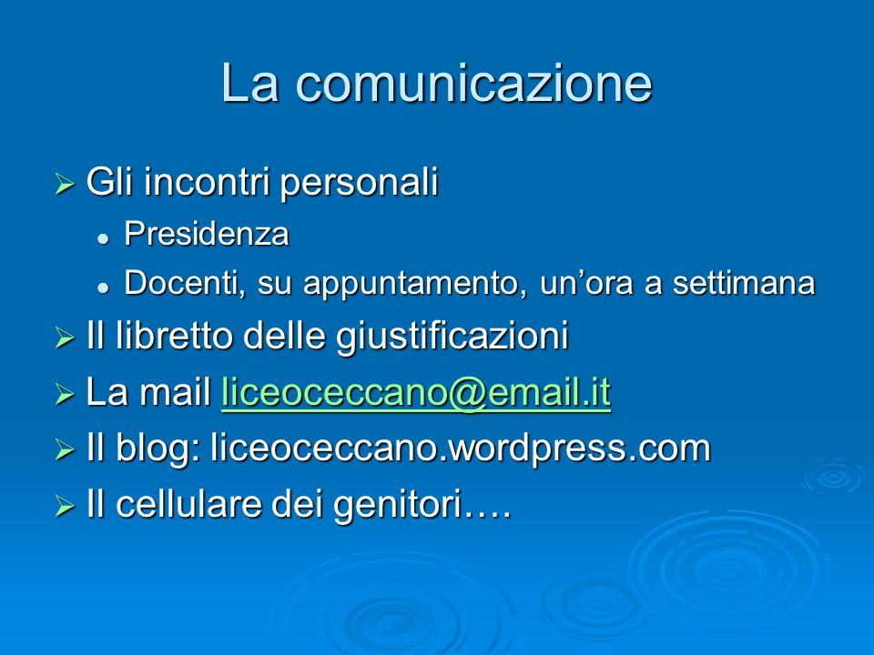 La comunicazione Gli incontri personali Gli incontri personali Presidenza Presidenza Docenti, su appuntamento, unora a settimana Docenti, su appuntame