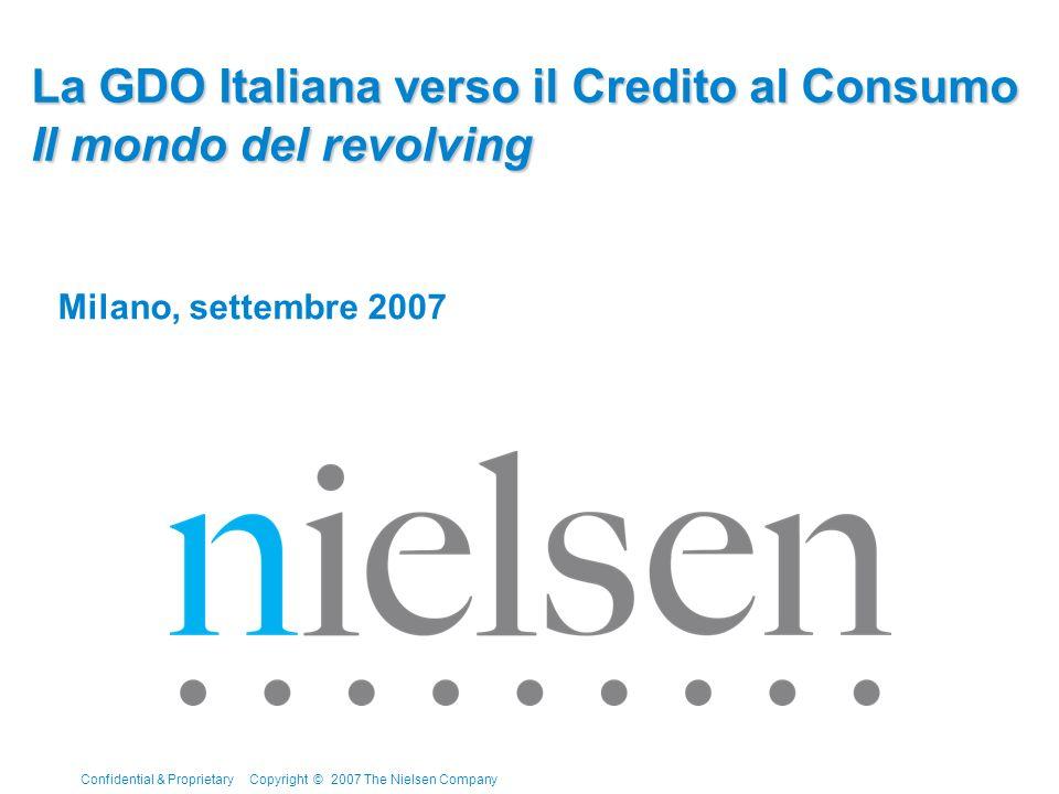 Confidential & Proprietary Copyright © 2007 The Nielsen Company Page 2 Indebitamento delle Famiglie Confronto Europeo - % debito rispetto al reddito annuo disponibile Nel confronto internazionale le famiglie italiane restano ancora poco indebitate.