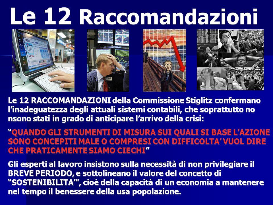 Le 12 RACCOMANDAZIONI della Commissione Stiglitz confermano linadeguatezza degli attuali sistemi contabili, che soprattutto no nsono stati in grado di