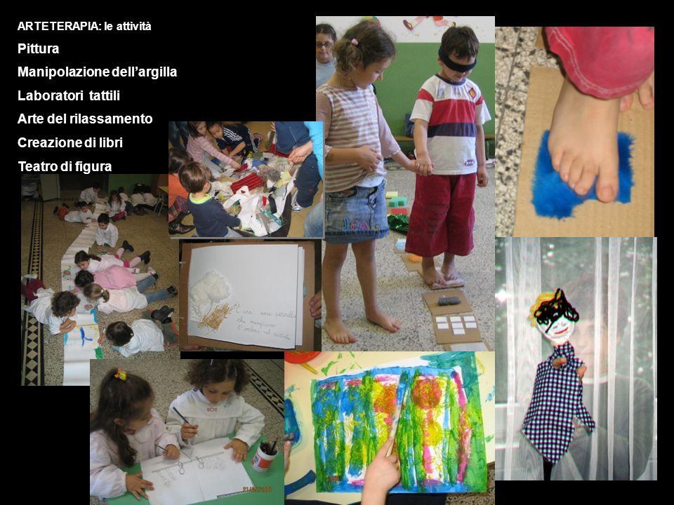 ARTETERAPIA: le attività Pittura Manipolazione dellargilla Laboratori tattili Arte del rilassamento Creazione di libri Teatro di figura