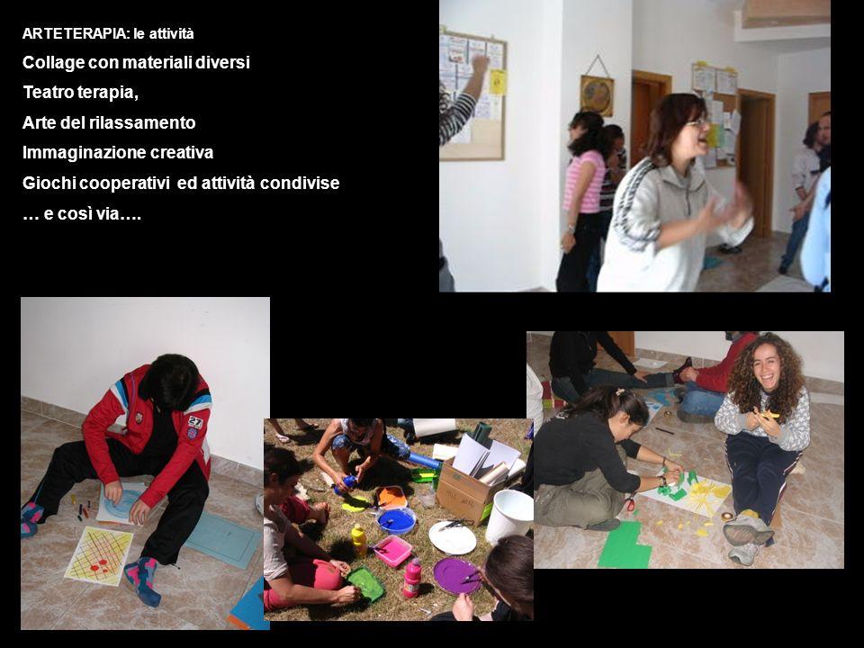 ARTETERAPIA: le attività Collage con materiali diversi Teatro terapia, Arte del rilassamento Immaginazione creativa Giochi cooperativi ed attività con