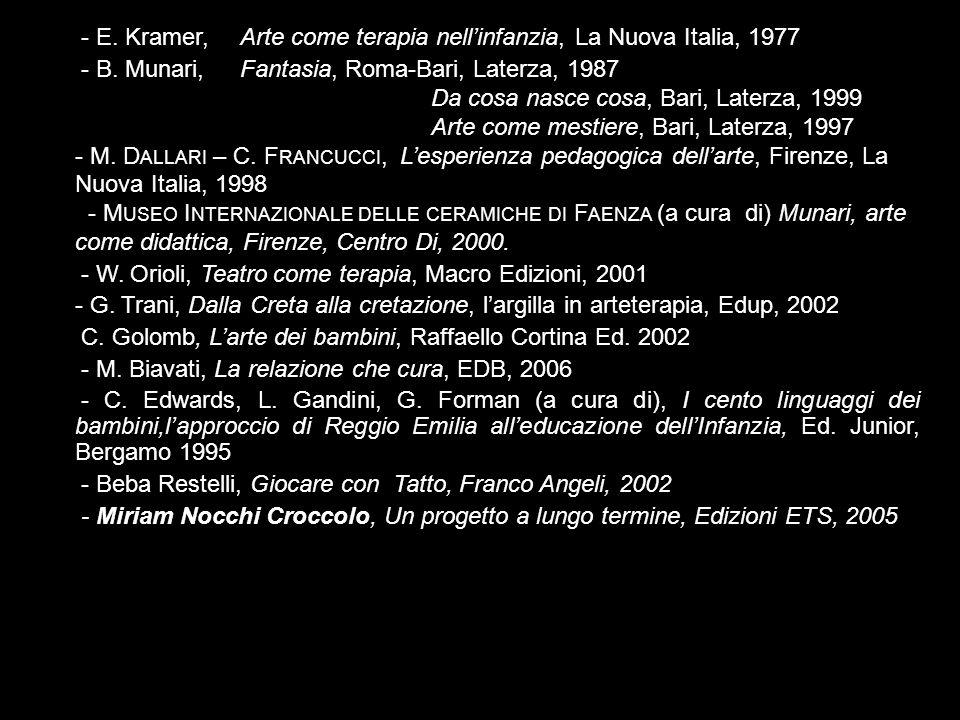 - E. Kramer, Arte come terapia nellinfanzia, La Nuova Italia, 1977 - B. Munari, Fantasia, Roma-Bari, Laterza, 1987 Da cosa nasce cosa, Bari, Laterza,