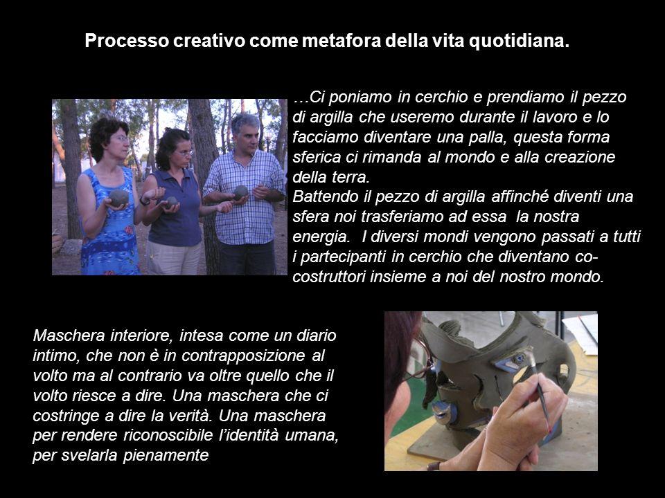 Processo creativo come metafora della vita quotidiana. …Ci poniamo in cerchio e prendiamo il pezzo di argilla che useremo durante il lavoro e lo facci