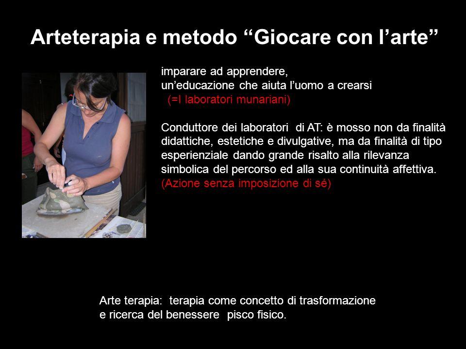 Arteterapia e metodo Giocare con larte imparare ad apprendere, uneducazione che aiuta luomo a crearsi (=I laboratori munariani) Conduttore dei laborat