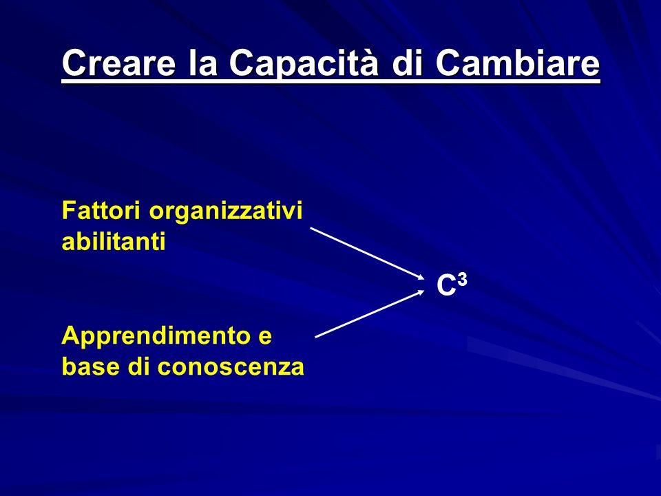 Creare la Capacità di Cambiare Fattori organizzativi abilitanti Apprendimento e base di conoscenza C3C3