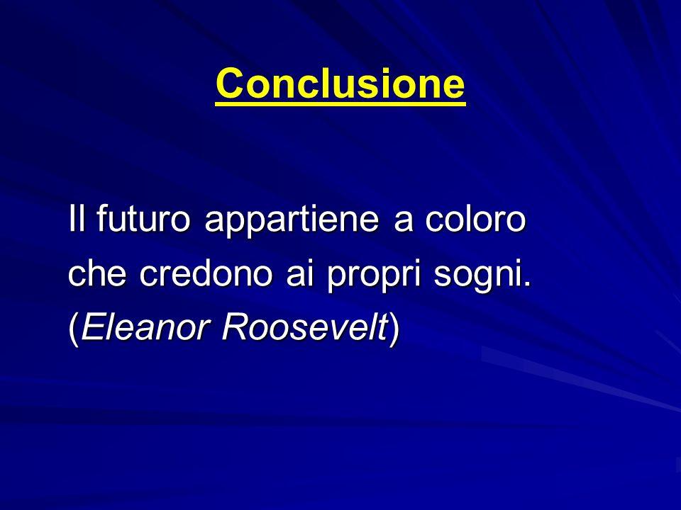 Conclusione Il futuro appartiene a coloro che credono ai propri sogni. (Eleanor Roosevelt)