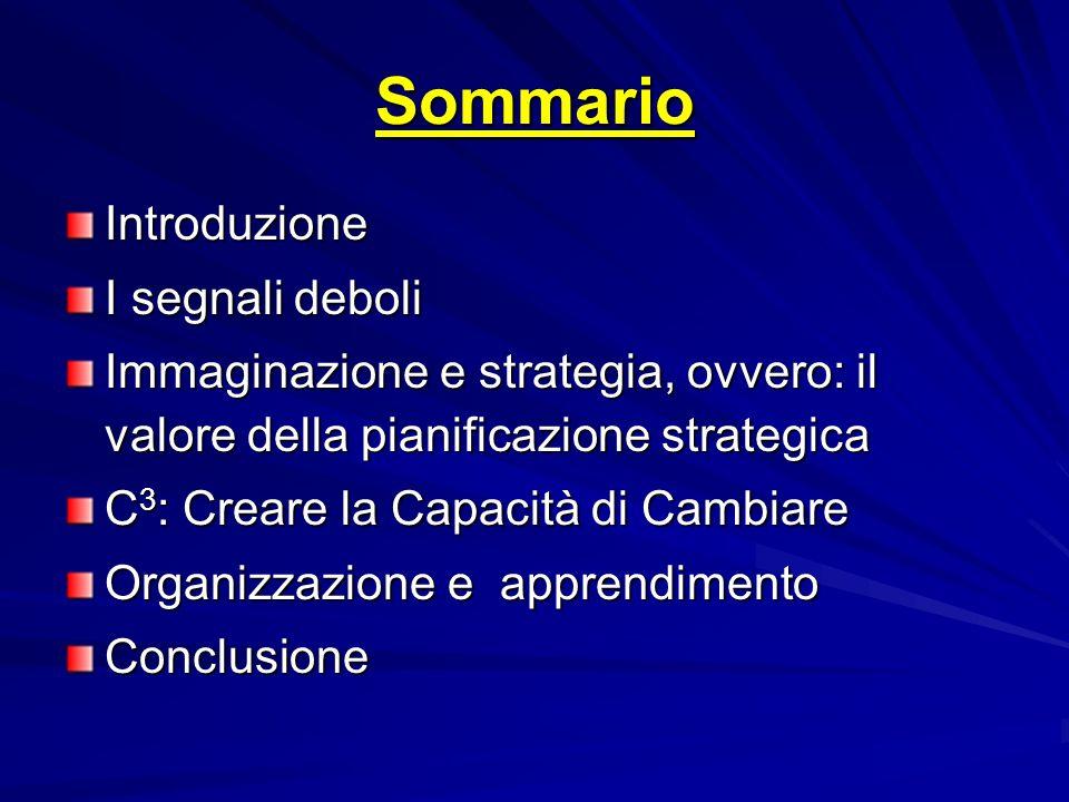 Sommario Introduzione I segnali deboli Immaginazione e strategia, ovvero: il valore della pianificazione strategica C 3 : Creare la Capacità di Cambia