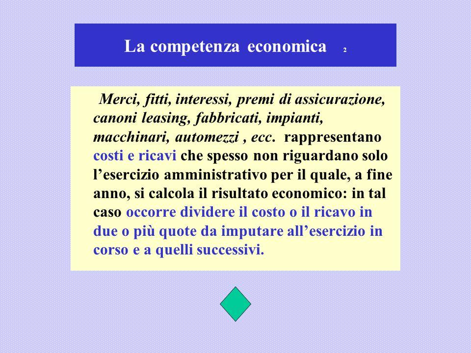 La competenza economica 2 Merci, fitti, interessi, premi di assicurazione, canoni leasing, fabbricati, impianti, macchinari, automezzi, ecc. rappresen