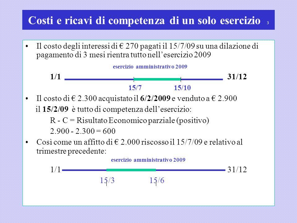 Costi e ricavi di competenza di un solo esercizio 3 Il costo degli interessi di 270 pagati il 15/7/09 su una dilazione di pagamento di 3 mesi rientra