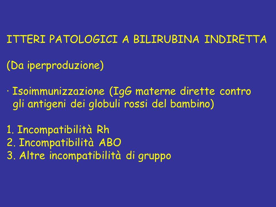 ITTERI PATOLOGICI A BILIRUBINA INDIRETTA (Da iperproduzione) · Isoimmunizzazione (IgG materne dirette contro gli antigeni dei globuli rossi del bambin