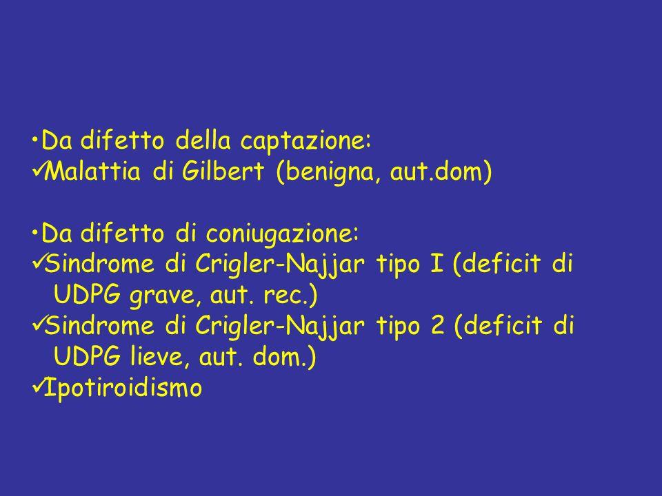 Da difetto della captazione: Malattia di Gilbert (benigna, aut.dom) Da difetto di coniugazione: Sindrome di Crigler-Najjar tipo I (deficit di UDPG gra
