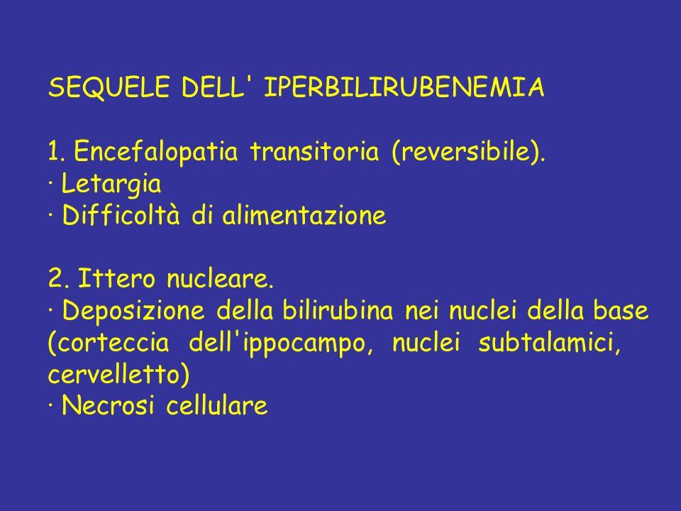 SEQUELE DELL' IPERBILIRUBENEMIA 1. Encefalopatia transitoria (reversibile). · Letargia · Difficoltà di alimentazione 2. Ittero nucleare. · Deposizione