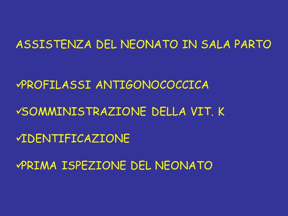 ASSISTENZA DEL NEONATO IN SALA PARTO PROFILASSI ANTIGONOCOCCICA SOMMINISTRAZIONE DELLA VIT. K IDENTIFICAZIONE PRIMA ISPEZIONE DEL NEONATO
