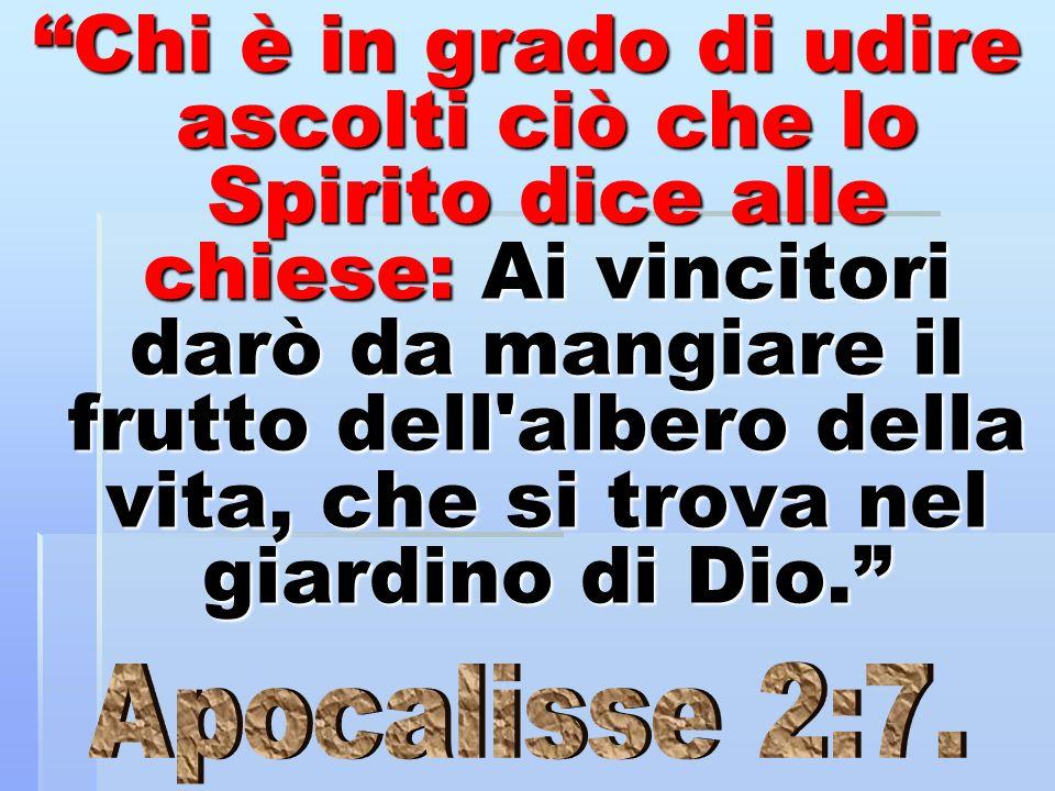 Chi è in grado di udire ascolti ciò che lo Spirito dice alle chiese: Ai vincitori darò da mangiare il frutto dell'albero della vita, che si trova nel
