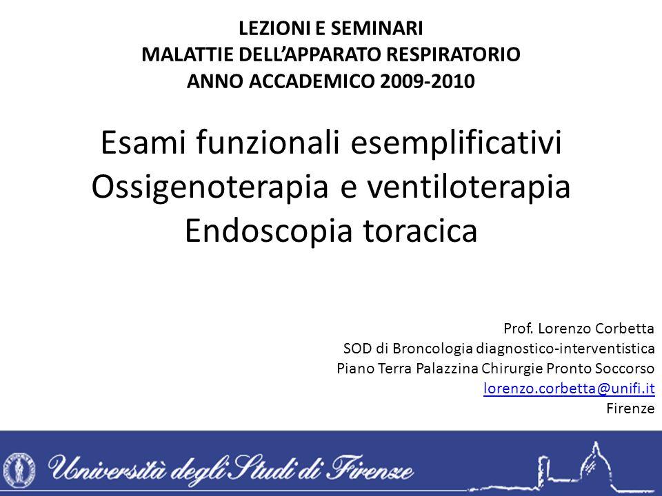 Esami funzionali esemplificativi Ossigenoterapia e ventiloterapia Endoscopia toracica LEZIONI E SEMINARI MALATTIE DELLAPPARATO RESPIRATORIO ANNO ACCAD